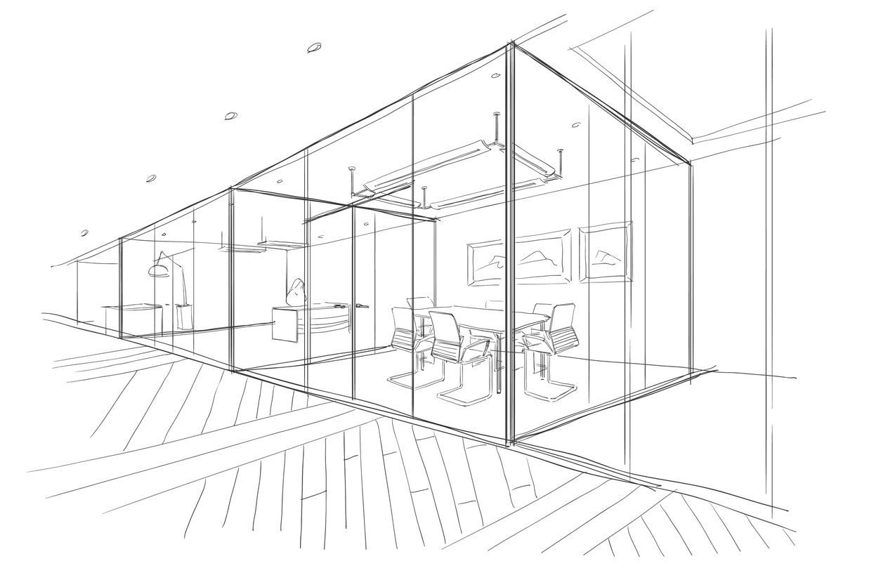 Hand drawn sketch of new office space