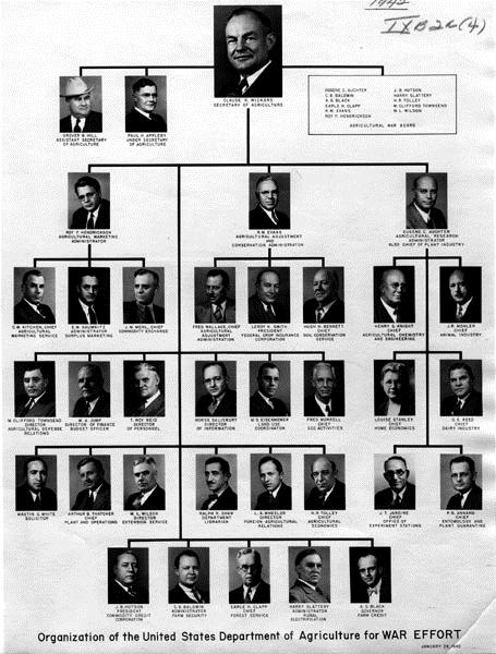 Organisation of the United Staes Department of Agriculture for War Effort